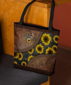 just a girl who loves sunflower leather pattern all over print tote bag 3