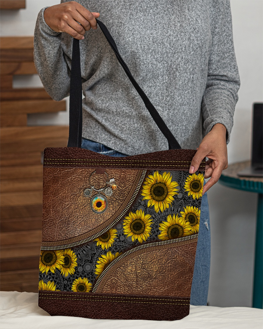 just a girl who loves sunflower leather pattern all over print tote bag 4