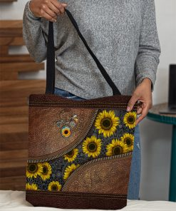 just a girl who loves sunflower leather pattern all over print tote bag 5