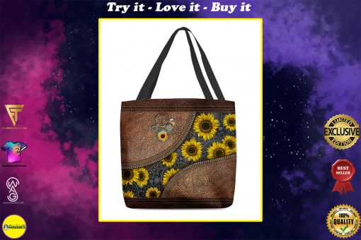 just a girl who loves sunflower leather pattern all over print tote bag