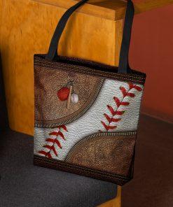 love baseball vintage all over printed tote bag 2