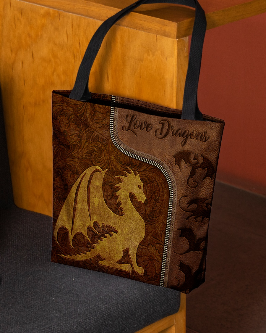 love dragons leather pattern all over print tote bag 2