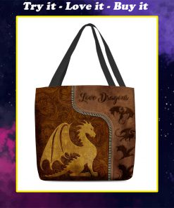 love dragons leather pattern all over print tote bag