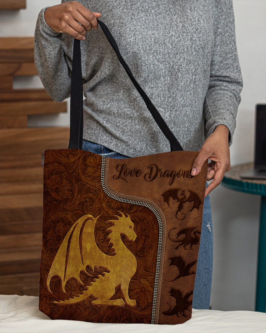 love dragons leather pattern all over print tote bag 4