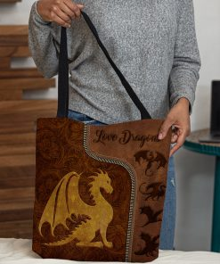 love dragons leather pattern all over print tote bag 5