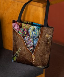 love knitting leather pattern all over print tote bag 2