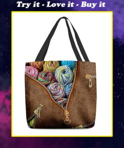 love knitting leather pattern all over print tote bag