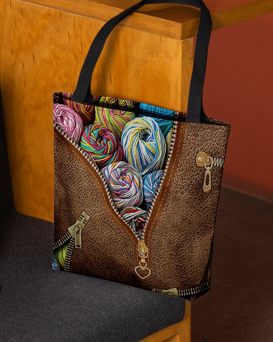 love knitting leather pattern all over print tote bag 3