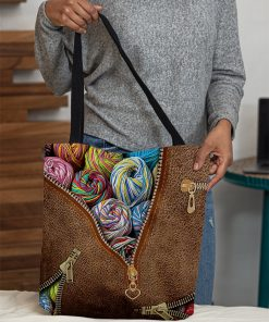 love knitting leather pattern all over print tote bag 5
