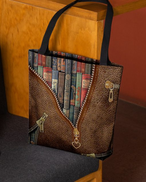 love reading leather pattern all over printed tote bag 2