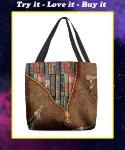 love reading leather pattern all over printed tote bag