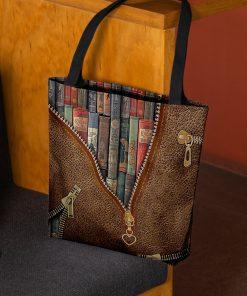 love reading leather pattern all over printed tote bag 3