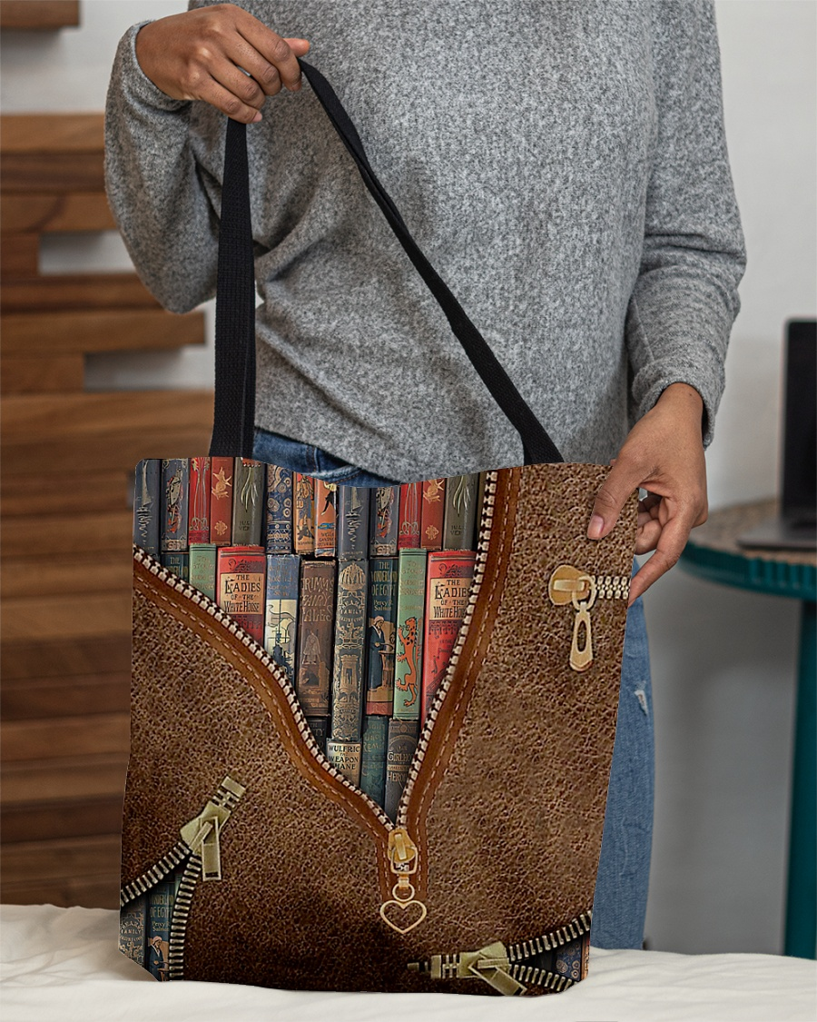 love reading leather pattern all over printed tote bag 5
