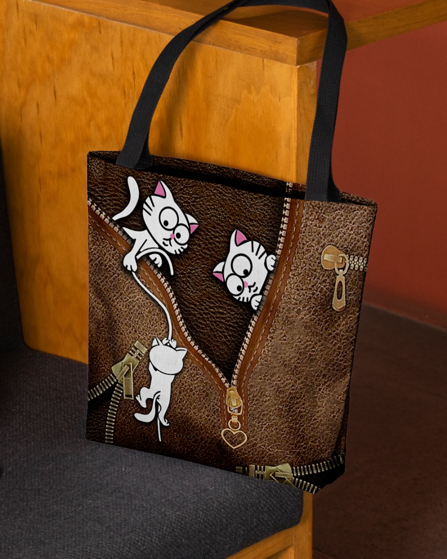 lovely kitty leather pattern all over print tote bag 2