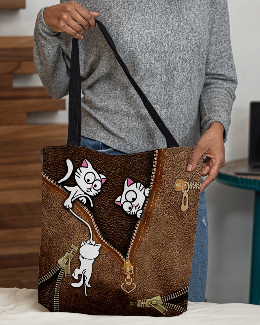 lovely kitty leather pattern all over print tote bag 4
