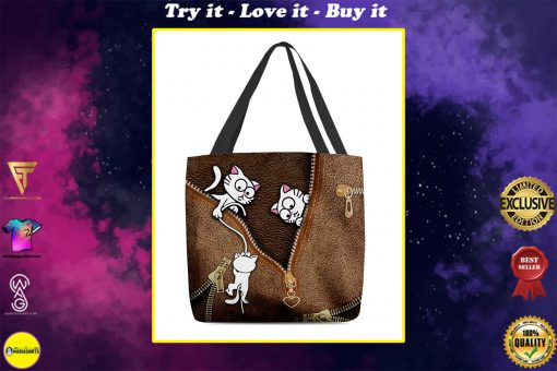 lovely kitty leather pattern all over print tote bag