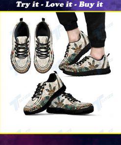 mandala cannabis leaf all over printed sneakers