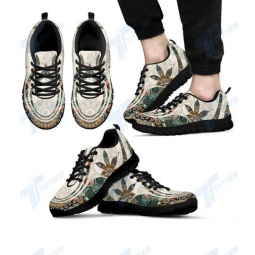 mandala cannabis leaf all over printed sneakers 4