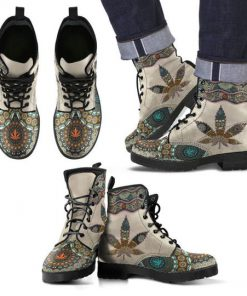 mandala weed leaf all over printed winter boots 3