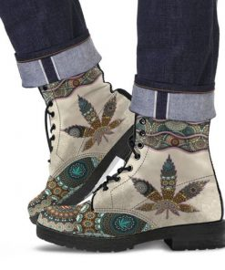 mandala weed leaf all over printed winter boots 4