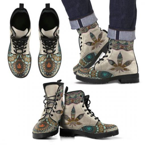 mandala weed leaf all over printed winter boots 5