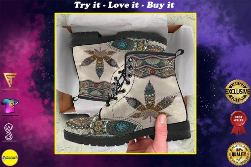mandala weed leaf all over printed winter boots