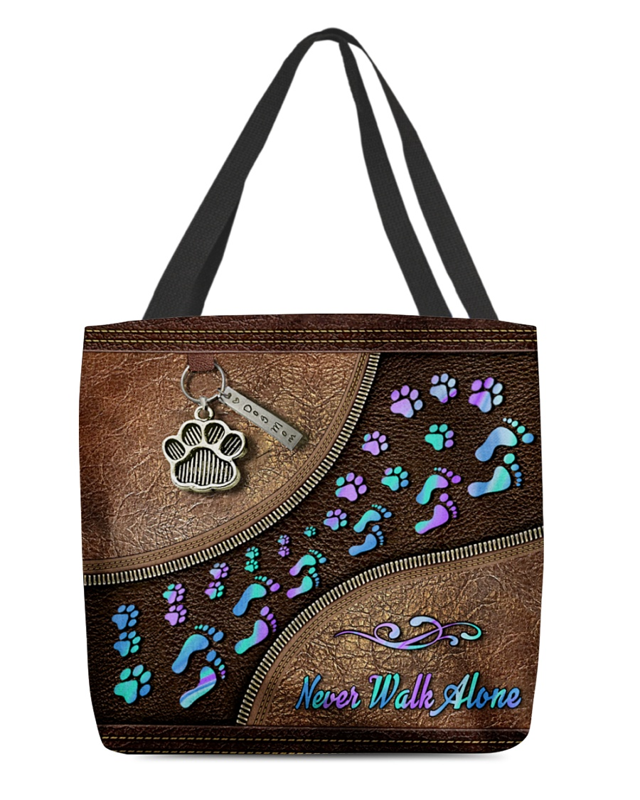 never walk alone dog mom leather pattern all over printed tote bag 3