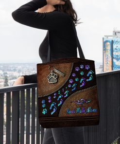 never walk alone dog mom leather pattern all over printed tote bag 4