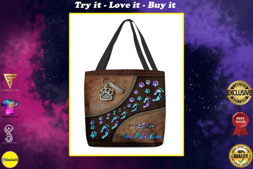never walk alone dog mom leather pattern all over printed tote bag