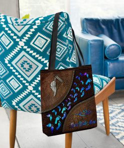 never walk alone wings leather pattern all over print tote bag 3