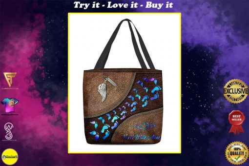 never walk alone wings leather pattern all over print tote bag