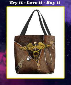 nurse leather pattern all over printed tote bag
