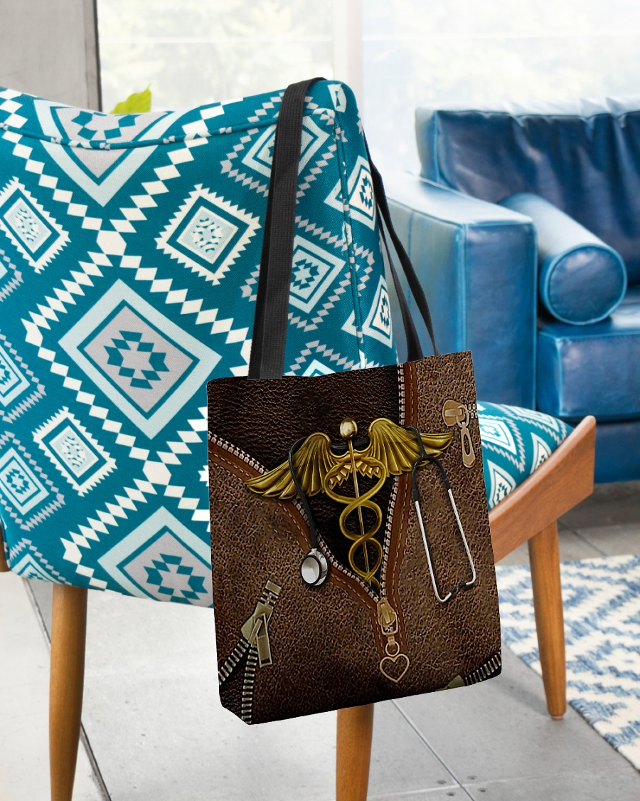 nurse leather pattern all over printed tote bag 3