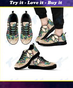 peace flower paisley hippie all over print sneakers