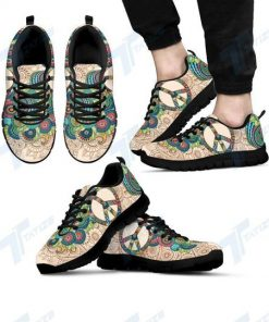 peace flower paisley hippie all over print sneakers 4