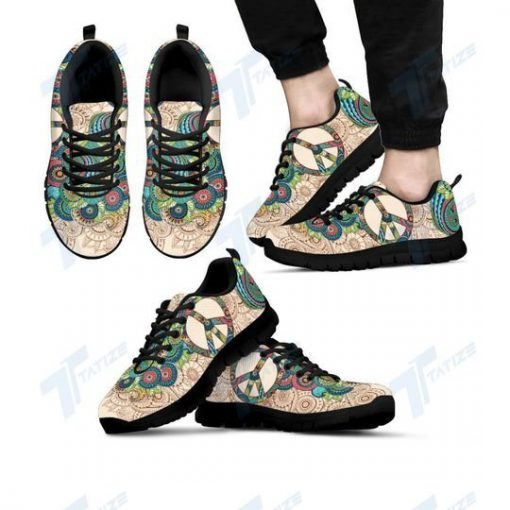 peace flower paisley hippie all over print sneakers 5
