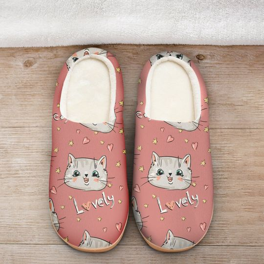 pink cat lovely all over printed slippers 2