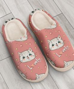 pink cat lovely all over printed slippers 3