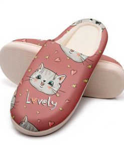 pink cat lovely all over printed slippers 5