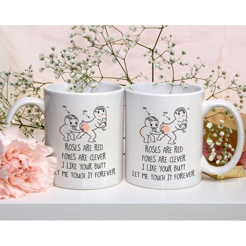 roses are red foxes are clever i like your butt let me touch it forever coffee mug 4