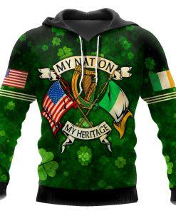 saint patricks day my nation my heritage shamrock all over print shirt 1