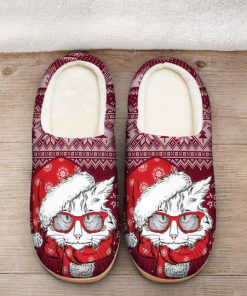 the CAT with santa hat all over printed slippers 2