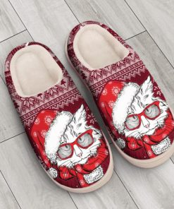the CAT with santa hat all over printed slippers 4