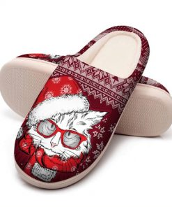 the CAT with santa hat all over printed slippers 5