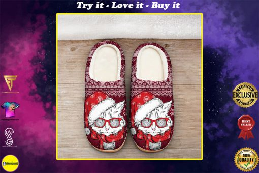 the CAT with santa hat all over printed slippers