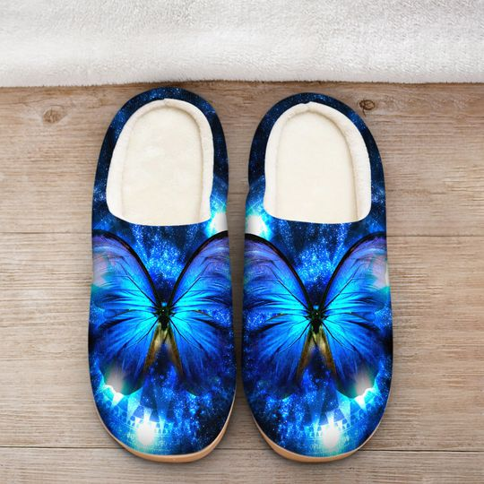 the blue butterfly in night all over printed slippers 2