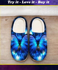 the blue butterfly in night all over printed slippers