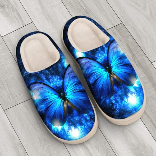 the blue butterfly in night all over printed slippers 3