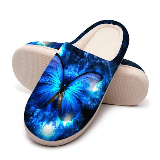 the blue butterfly in night all over printed slippers 5