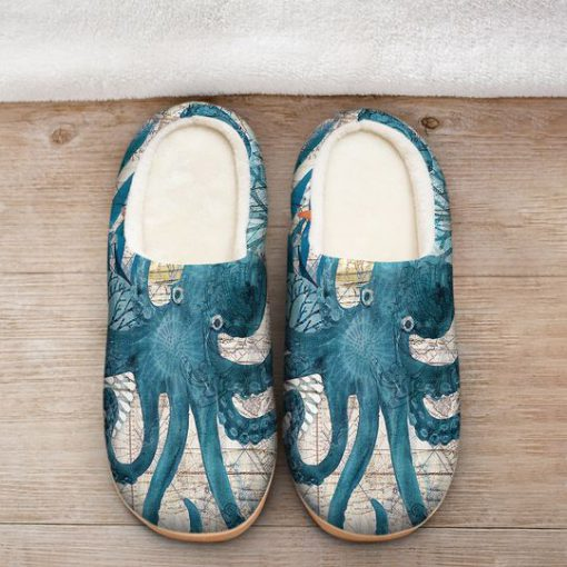 the blue octopus vintage all over printed slippers 2